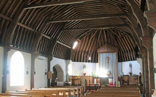 Our Lady of The Angels with its fine wooden ceiling and roof