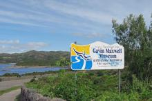 The sign for The Gavin Maxwell Museum on The Isle of Skye road bridge