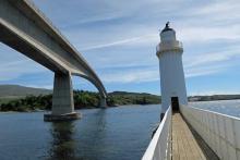 The Skye Road bridge and the lighthouse on Eilean Bàn