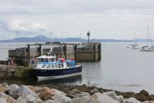 The MV Shearwater at Port Mòr on The Isle of Muck