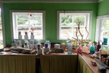 Inside the Green Shed craft shop on The Isle of Muck