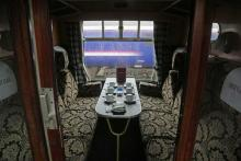A first class compartment on The Jacobite steam train