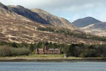 Kinloch Castle seen from the approaching ferry